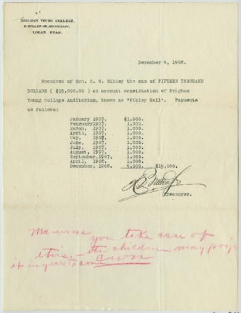 Receipt for $15,000 from C. W. Nibley to Brigham Young College for Nibley Hall