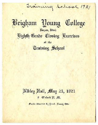 Brigham Young College Eighth Grade Closing Exercises of the Training School, May 25, 1921