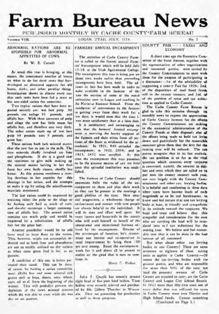 Farm Bureau News, Cache County, Volume VIII, Number 2, July 1924