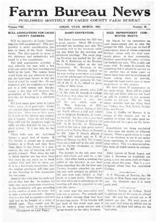 Farm Bureau News, Cache County, Volume VIII, Number 10, March 1923