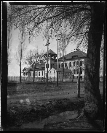 View of Nibley Hall under construction, Brigham Young College