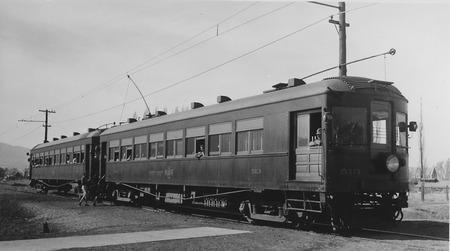 U.I.C. Engine #513 and Passenger Car in Smithfield, Utah, 1939<br />