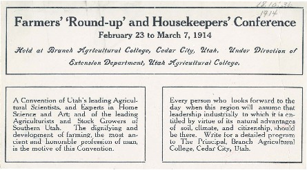 Announcement for Farmers' Roundup and Housekeepers' Conference in Cedar City