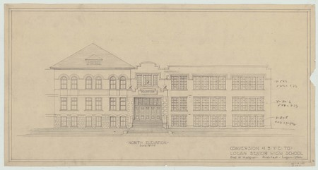 Conversion of Brigham Young College to Logan Senior High School; north elevation