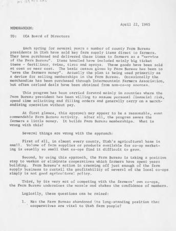 Memorandum to the Utah Cooperatives Association Board of Directors