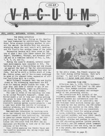 Varied Accounts Concerning Uca Uinta Mischief (VACUUM), Volume 1, Numbers, 7, 8, 9, 10, 11; August, September, October, November, 1958
