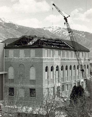 Merrill Library under expansion construction, 1966 (1 of 2)