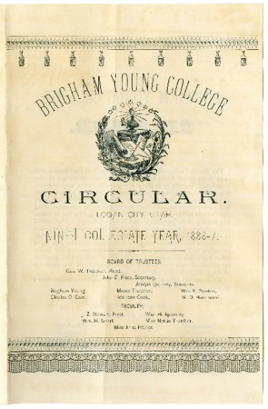 B.Y.C. Circular - Ninth Collegiate Year, 1886-1887