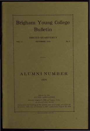 Brigham Young College Bulletin, September, 1918
