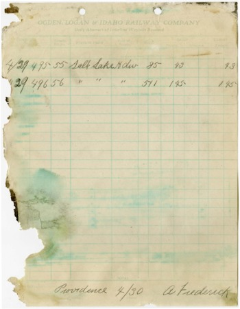 O.L.I. Waybill Abstract, April 29, 1918<br />