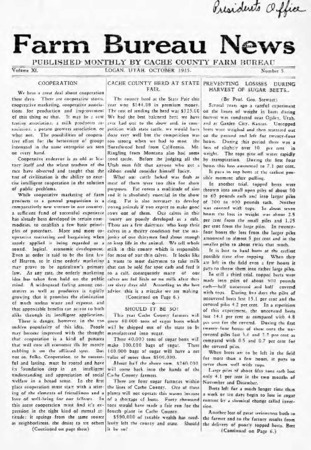 Farm Bureau News, Cache County, Volume XI, Number 5, October 1925