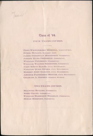 1899 UAC Commencement Program, Back Cover