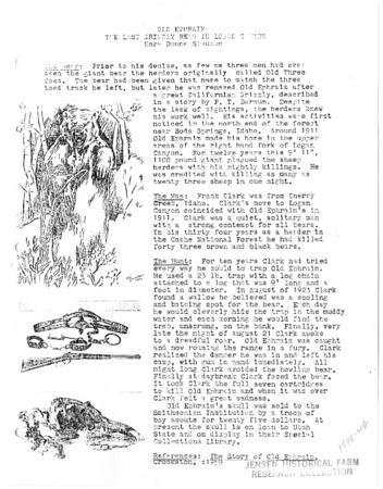 """Old Ephraim, the Last Grizzly Bear in Logan Canyon,"" by Nora Dunne Slauson, 1917"