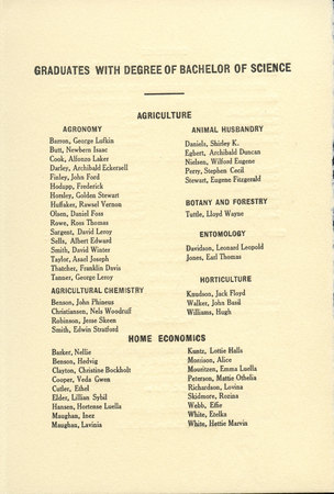 1915 UAC Commencement Program Page 2