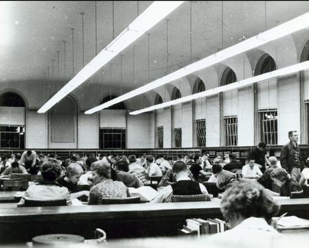 USAC Library reading room, circa 1953