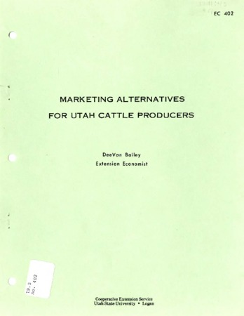 Marketing Alternatives for Utah Cattle Producers