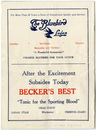 The Bluebird and Becker's ads, 1935