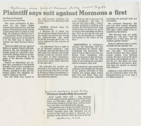 Plaintiff Says Suit Against Mormons a First