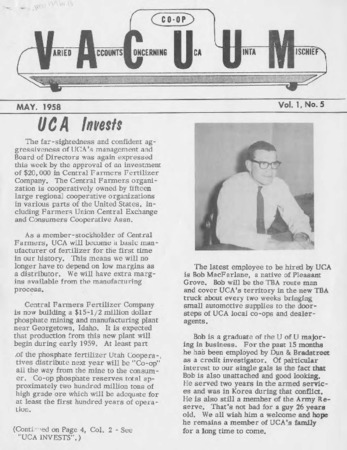 Varied Accounts Concerning Uca Uinta Mischief (VACUUM), Volume 1, Number 5, May 1958