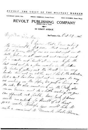 Letter from Selig Schulberg to Jack London, dated October 29, 1911