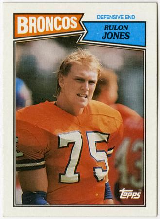 Football card - Rulon Jones, Denver Broncos, 1987