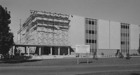 Scaffolding on the Merrill Library, 1967