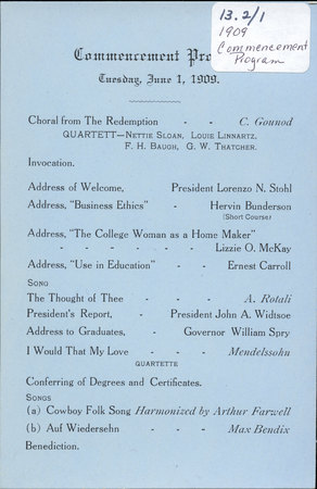1909 UAC Commencement Program