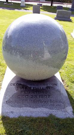 Thatcher globe headstone, Logan cemetery