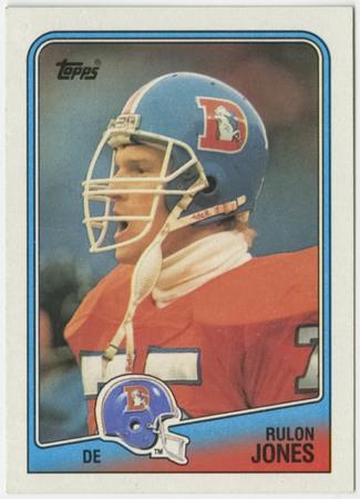 Football card - Rulon Jones, Denver Broncos, 1988