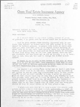 O. J. Henderson to Utah Governor Herbert B. Maw