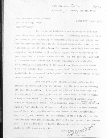 N. H. Smith to  Utah Governor Herbert B. Maw.