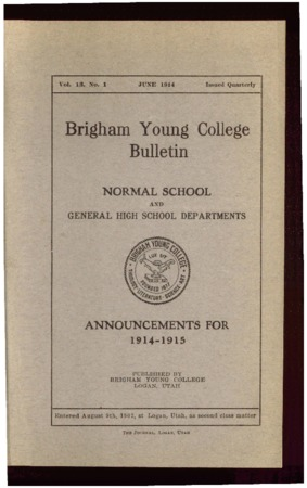 Brigham Young College Bulletin, June 1914