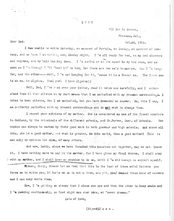 Letter from Joan London to Jack London, dated October 28, 1913