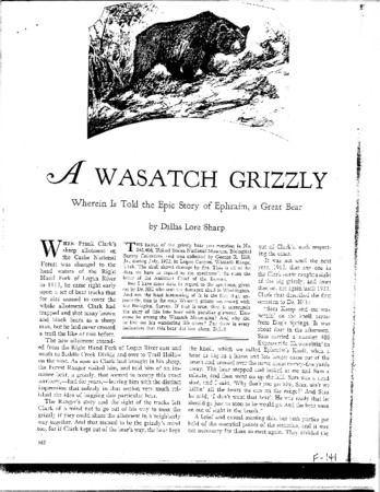"Nature Magazine's ""A Wasatch Grizzly"", March 1928"
