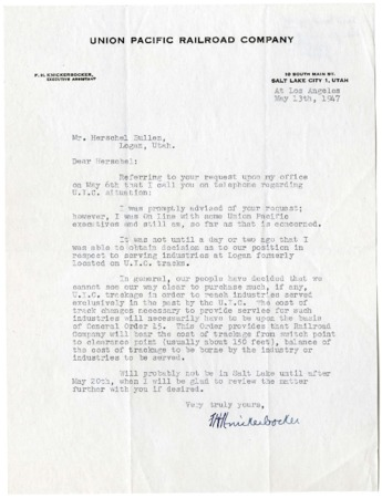 Union Pacific Letter, Decision Regarding Former U.I.C. Lines, May, 1947<br />