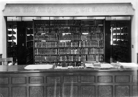 Loan desk, Merrill Library, 1930s