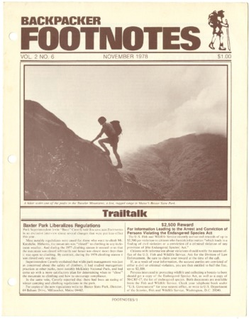 Backpacker Footnotes, November 1978