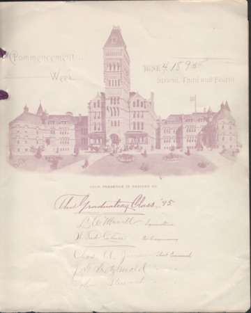1895 UAC Commencement Invitation, Page 1