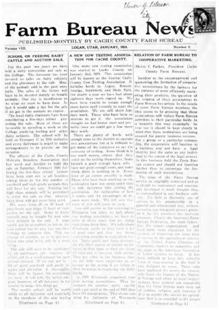 Farm Bureau News, Cache County, Volume VIII, Number 8, January 1924
