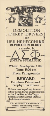 Homecoming demolition derby poster, 1991