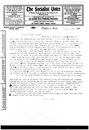 Letter from H.C. Tuck to Jack London, dated June 1, 1905