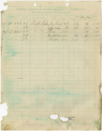 O.L.I. Waybill Abstract, April 27, 1918 from Salt Lake City, Utah<br />