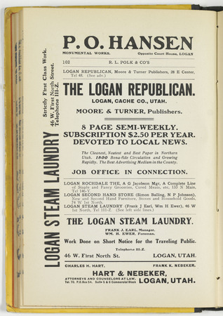 Advertisement for the Logan Republican found in the 1905-06 Logan City directory