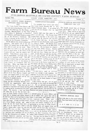 Farm Bureau News, Cache County, Volume VIII, Number 9, February 1925