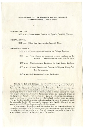 Undated Commencement Program (2 of 2)