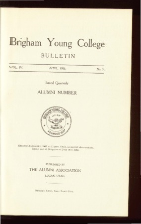 Brigham Young College Bulletin, April, 1906