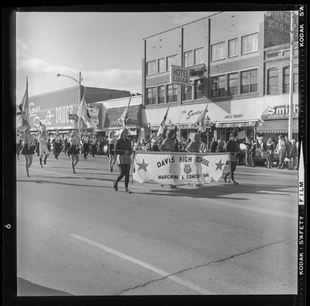 Davis High School marching band in a homecoming parade, 1973