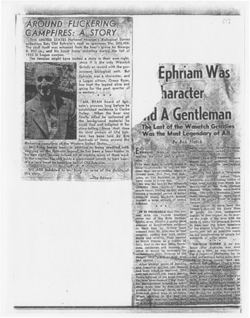 Newspaper clippings and articles about Old Ephraim, 1953