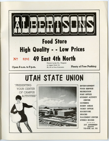 Albertsons and Utah State Union advertisements, 1967