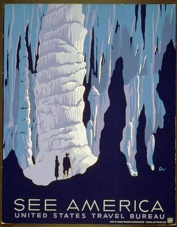See America Caves US Travel Bureau Poster